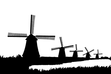 dutch landmark: A silhouette of windmills in Kinderdijk, Holland, isolated on white background