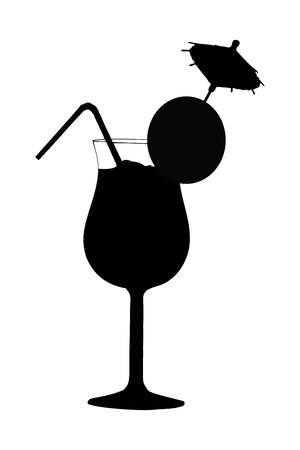 shaken: A silhouette of a cocktail drink isolated against white background