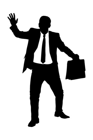 disoriented: A silhouette of a confused businessman isolated on white background