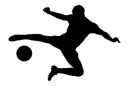 A silhouette of a soccer player shooting a ball isolated on white background photo