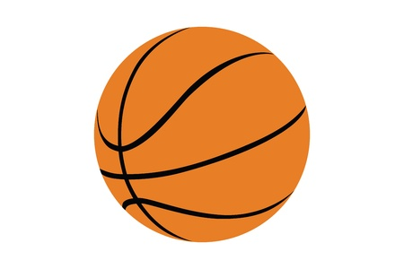 basketball shot: Silhouette of a basketball isolated on white background Stock Photo