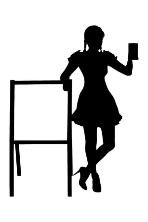 Silhouette of a bavarian woman holding a glass of beer next to a wooden board isolated on white background photo