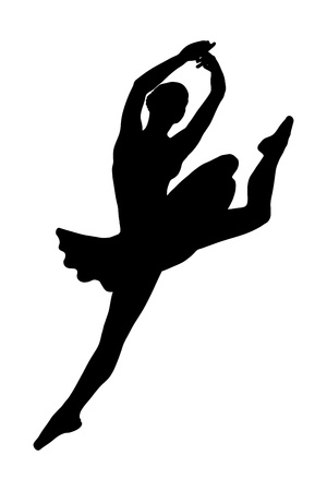 flexible woman: A silhouette of a ballerina dancer jumping isolated against white background