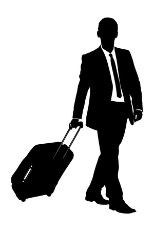 wayfarer: A silhouette of a business traveler carrying a suitcase isolated on white background