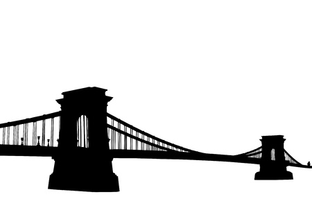 suspension bridge: A silhouette of a Chain bridge  Szechenyi Lanchid  in Budapest, Hungary, isolated on white background Stock Photo