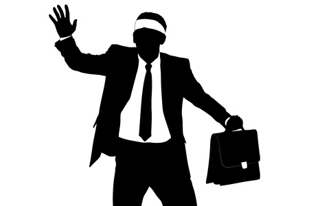 ojos vendados: Una silueta de un hombre de negocios con los ojos vendados confuso aislado sobre fondo blanco