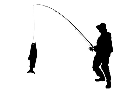 anglers: A silhouette of a fisherman with a fish isolated on white background
