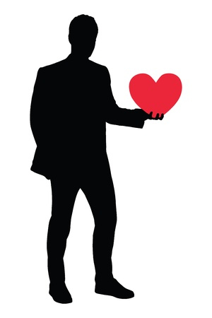 single man: A silhouette of a guy holding a red heart shaped object isolated on white background