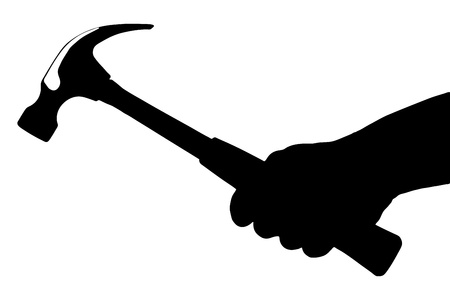 whack: A silhouette of a hand holding a hammer isolated on white background Stock Photo
