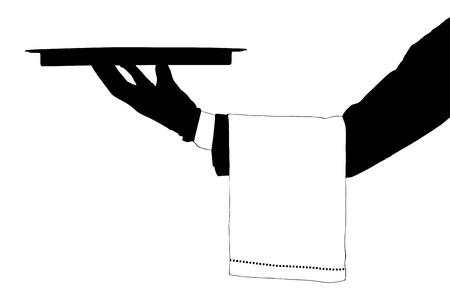 Una silueta de una mano que sostiene una bandeja aislada en el fondo blanco