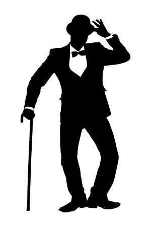 Une silhouette d'un homme tenant une canne et faisant des gestes isolés sur fond blanc