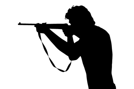 A silhouette of a man shooting with a rifle isolated on white background photo