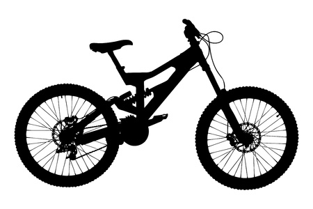 A silhouette of a mountain bike isolated on white background photo
