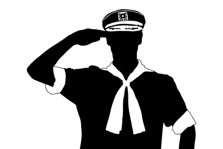 homage: A silhouette of a sailor saluting isolated on white background