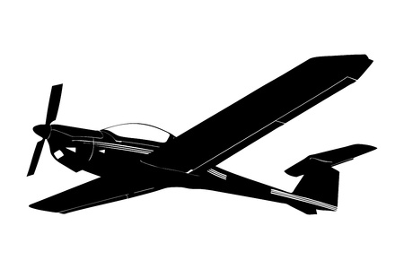 flap: A silhouette of a small plane in flight isolated against white background