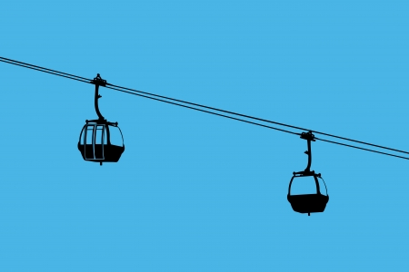cableway: A silhouette of two air-cable cabins against a blue sky