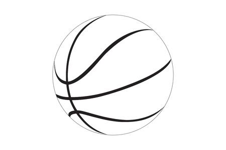 balon baloncesto: Silueta de una pelota de baloncesto aislados en fondo blanco