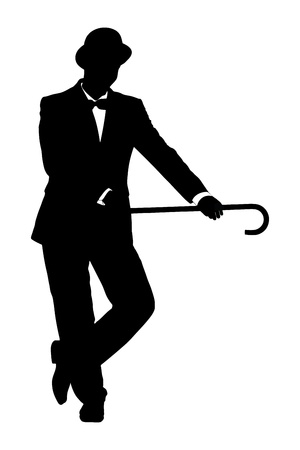 theater man: Silhouette of a man in suit holding a cane isolated on white background
