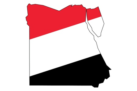 egypt flag: A silhouette of a map of Egypt with flag isolated on white background