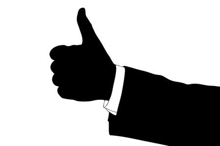 A silhouette of a hand giving thumb up isolated on white background Stock Photo - 15357195