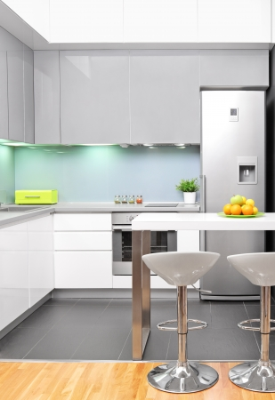 contemporary kitchen: A view of a modern kitchen interior