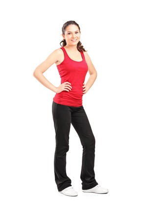 Full length portrait of a young athletic girl posing isolated on white background Stock Photo - 15361426