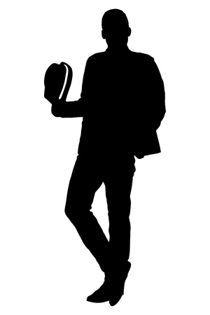 fedora hat: A silhouette of a full length portrait of a young man holding a hat isolated on white background