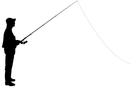 fishing pole: Silhouette of a fisherman holding a fishing pole isolated on white