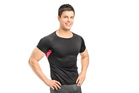 male athlete: A male athlete posing isolated on white background Stock Photo