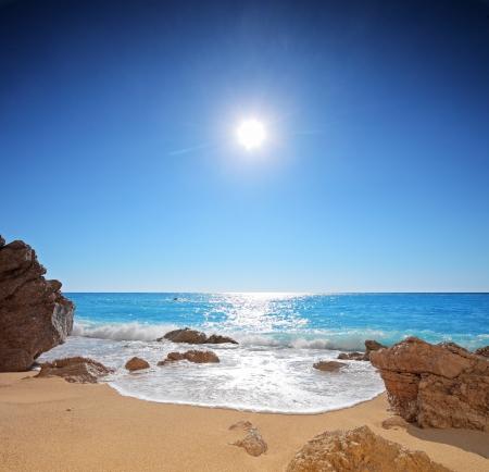 A panorama from the sandy beach of Porto Katsiki on the island Lefkada, Greece photo