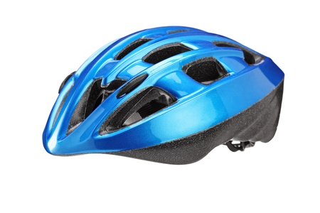 protective helmets: A studio shot of a blue helmet for byciclist isolated on white background