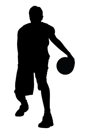 A silhouette of a basketball player with a ball isolated on white background