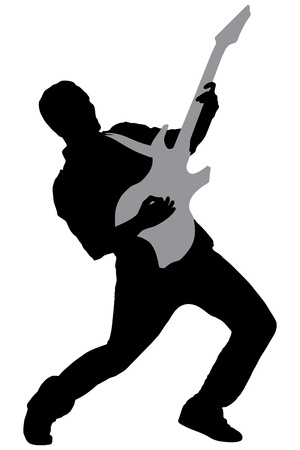 guy playing guitar: A silhouette of a rock star playing guitar isolated on white background Stock Photo