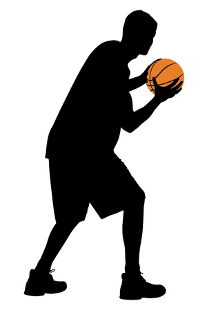 Full length portrait of a basketball player with ball isolated against white background photo