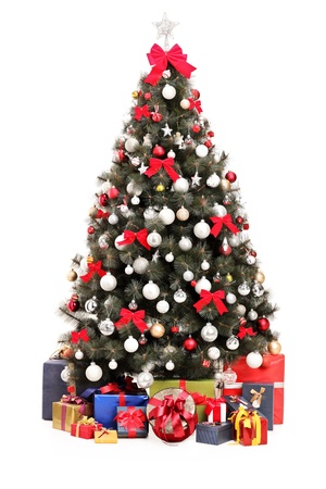 box tree: A studio shot of a decorated Christmas tree and gift boxes isolated on white background