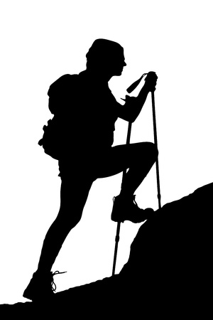 A silhouette of a female climbing a cliff isolated on white background