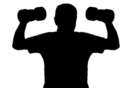 body building exercises: A silhouette of a man lifting up dumbbells isolated on white background