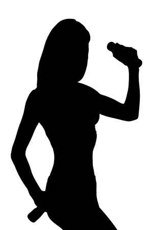 flex: A silhouette of a young attractive woman with weights isolated on white background
