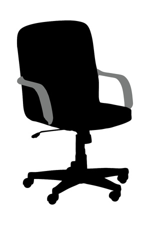 A silhouette of an office chair isolated against white background photo