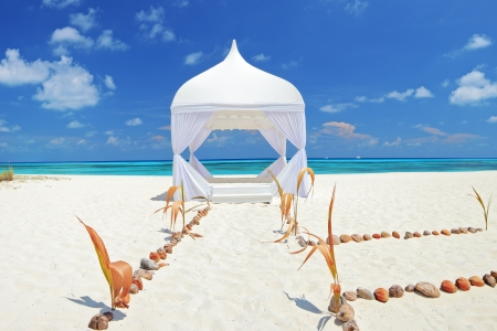 Wedding tent on a beach at Kuredu island, Maldives, Lhaviyani atoll  photo