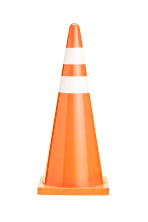 traffic cone: A studio shot of an orange construction cone isolated against white background