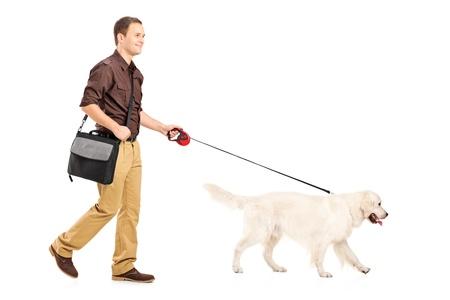 personas caminando: Retrato de cuerpo entero de un hombre con una bolsa de hombro caminando un perro aislado en el fondo blanco