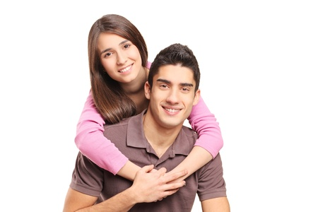 Young loving couple hugging isolated on white background Stock Photo - 16825752