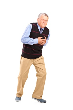 heart attack: Full length portrait of a mature man having a heart attack isolated on white background