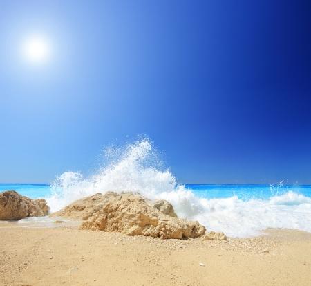 A beach scene at Porto Katsiki in Greece, Lefkada, shot with a tilt and shift lens photo