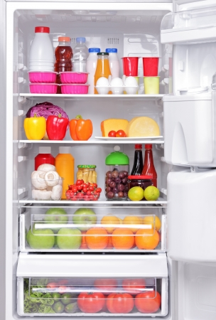 refrigerator with food: A fridge full of healthy products