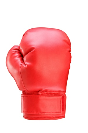 boxing equipment: A studio shot of a red boxing glove isolated on white background