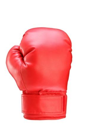 guantes: Una foto de estudio de un guante de boxeo rojo sobre fondo blanco Foto de archivo