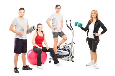 group objects: A small group of athletes posing with a fitness equipment isolated on white background