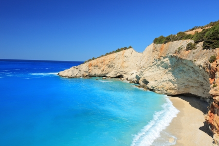 Sunny day at the famous Porto Katsiki beach on the island of Lefkada, Greece photo